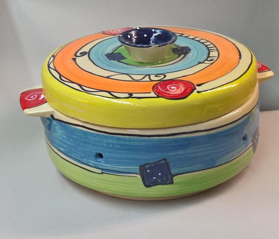 großer runder Brottopf Brotdose Brotkasten  Keramik in bunt